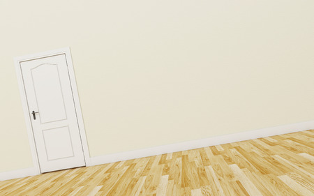 white wood floor: Closed White Door on brown Wall, Wood Floor