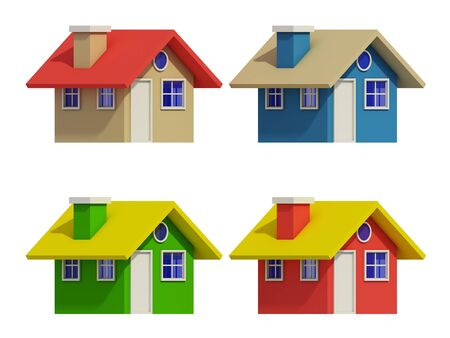 architectural styles: set of four houses with color changes