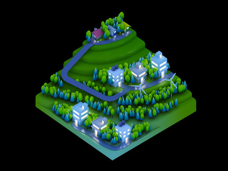 landscape road: isometric city buildings landscape Road and river night scene Stock Photo
