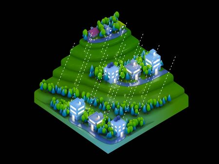 landscape road: isometric city buildings landscape Road and river night scene raining Stock Photo