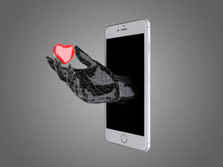 communicator: Hand hold the red heart out of a smart phone.
