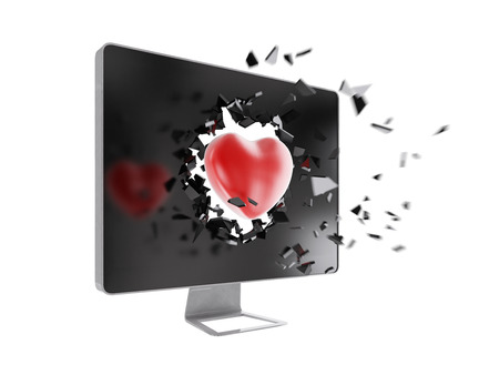 love explode: red heart destroy computer screen.