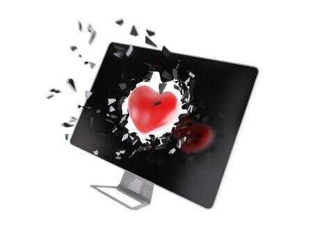 destroy: red heart destroy computer screen.