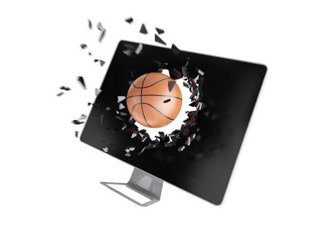destroy: basketball destroy computer screen.