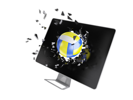 destroy: volleyball destroy computer screen. Stock Photo