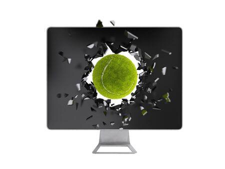 destroy: tennis ball destroy computer screen. Stock Photo