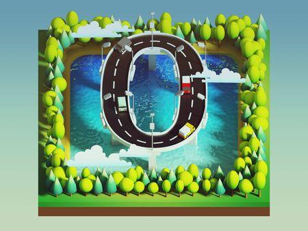 number zero: Isometric island transportation, road is number zero