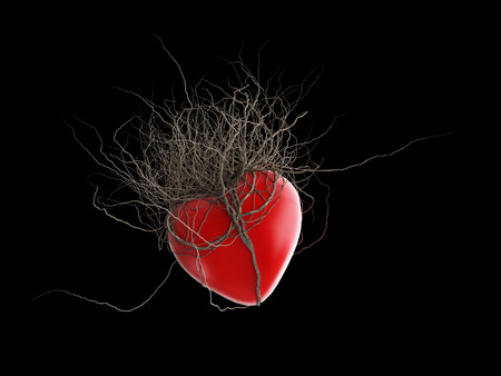 browns: Browns roots grew out of a red heart, in a black background.