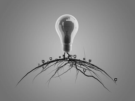 emerged: Light bulb with roots and emerged on the icon with roots, concept Stock Photo