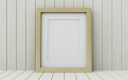 background picture: Realistic picture frame on wood background, Perfect for your presentations. Stock Photo