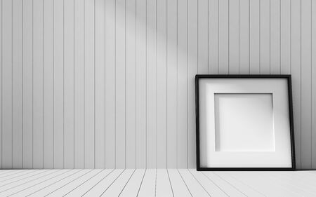 contemporary design: Realistic picture frame on wood background, Perfect for your presentations. Stock Photo