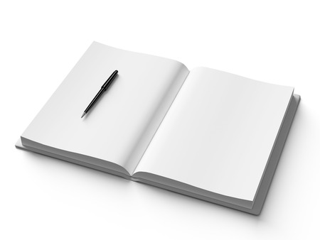 book binding: Black pen on white open book, on white background, concept Stock Photo