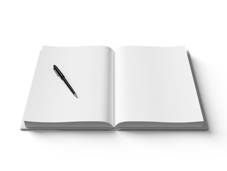 Black pen on white open book, on white background, concept Stock Photo