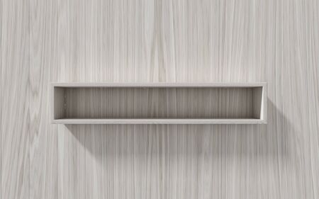 interior shelving: 3d isolated Empty shelf for exhibit on wood background, concept Stock Photo