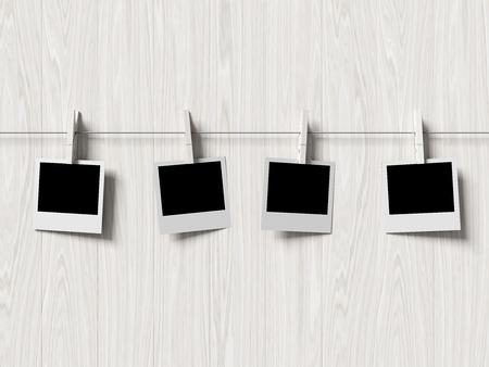 empty  photos frames on wood background, concept art