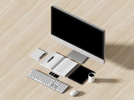 computer tech: High angle view of a setting table of business workplace, shot in office, home work space