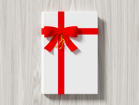day book: Book wrapped with color ribbon, on color wooden background