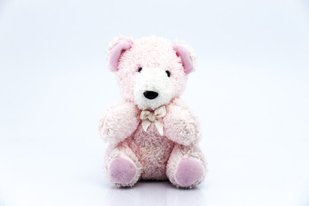 pink teddy bear: Pink teddy bear isolated on white background, Classic teddy bear