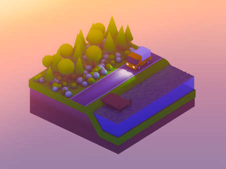city background: isometric city buildings, landscape, Road and river, isometric city background