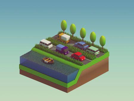 planos electricos: edificios de la ciudad isom�tricos, paisaje, carretera y el r�o, fondo isom�trica de la ciudad