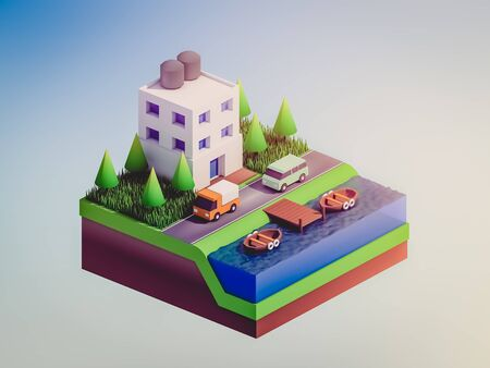 planos electricos: isometric city buildings, landscape, Road and river, isometric city background