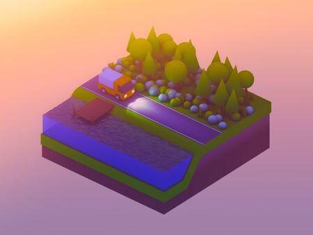 planos electricos: edificios de la ciudad isométricos, paisaje, carretera y el río, fondo isométrica de la ciudad