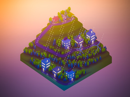 planos electricos: edificios de la ciudad isom�tricos, paisaje, carretera y el r�o, escena de la noche, lloviendo