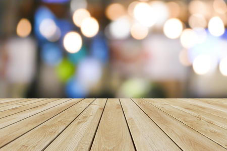 Perspective wood and bokeh light background. product display template Standard-Bild