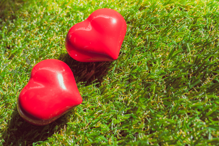 infarct: closeup of a red heart on the grass, art background