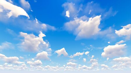 cumulus: Cloudy blue sky abstract background, blue sky background with tiny clouds, 3d illustration Stock Photo