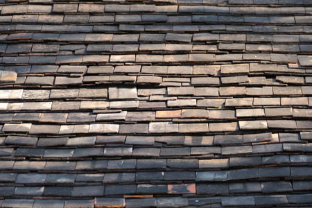 rooftiles: Abstract Detail of Old Slate Roof Tiles, abstract background Stock Photo
