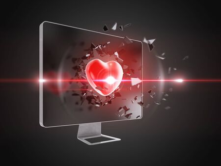 love explode: red heart destroy computer screen, technology background