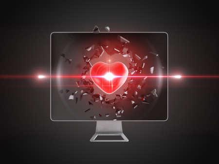 destroy: red heart destroy computer screen, technology background