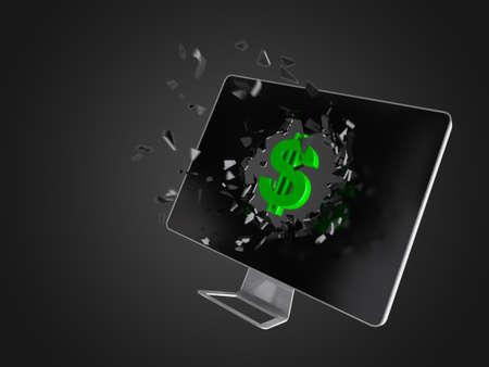 destroy: Green dollar sign destroy computer screen, technology background