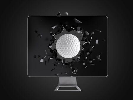 destroy: golf ball destroy computer screen, technology background Stock Photo