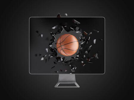 destroy: basketball destroy computer screen, technology background
