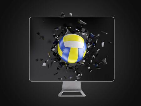 destroy: volleyball destroy computer screen, technology background