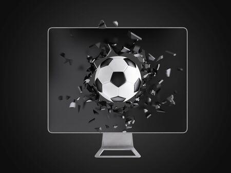 destroy: football destroy computer screen, technology background