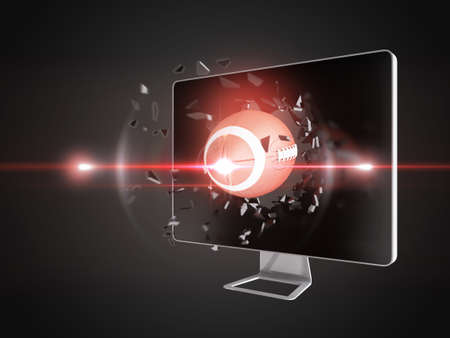 destroying: football destroy computer screen, technology background