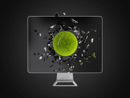destroy: tennis ball destroy computer screen, technology background