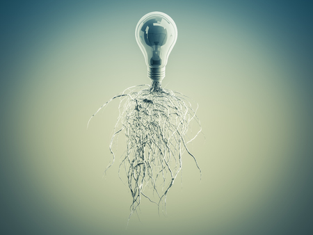 invent clever: Light bulb with roots and emerged on the icon with roots, concept Stock Photo