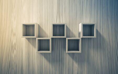 exhibit: 3d isolated Empty shelf for exhibit on wood background, concept Stock Photo