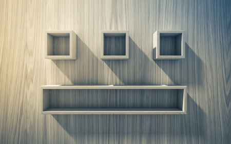 empty shelf: 3d isolated Empty shelf for exhibit on wood background, concept Stock Photo