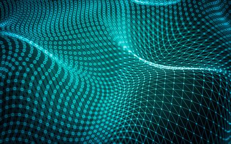 Streszczenie wielokątne miejsca low poly ciemnym tle z kropek i linii łączących. Struktura połączenia. Zdjęcie Seryjne