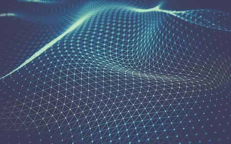 Zusammenfassung polygonalen Raum Low-Poly dunklen Hintergrund mit Verbindungs ??Punkten und Linien. Verbindungsstruktur. 3D-Rendering