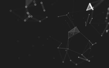 malla metalica: espacio poligonal baja poli fondo oscuro abstracto con los puntos y líneas de conexión. estructura de conexión. Las 3D