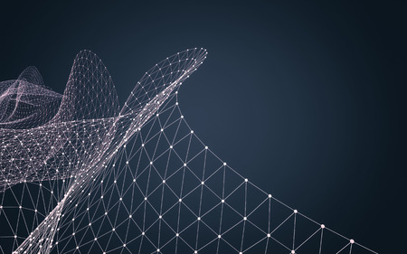 rendering: Abstract polygonal space low poly dark background with connecting dots and lines. Connection structure. 3d rendering