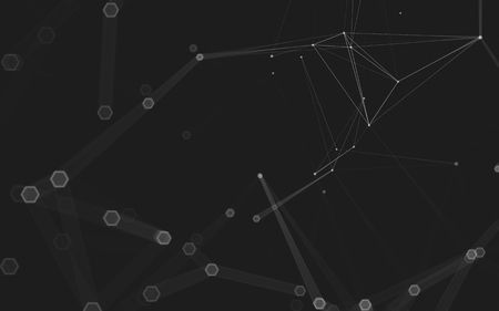 crystal background: Abstract polygonal space low poly dark background with connecting dots and lines. Connection structure. 3d rendering