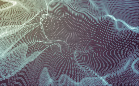 chaotic: Abstract polygonal space low poly dark background with connecting dots and lines. Connection structure. 3d rendering