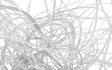 もつれた配線白、抽象的な背景、白背景